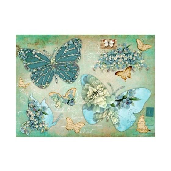 Papel de arroz mariposa azules
