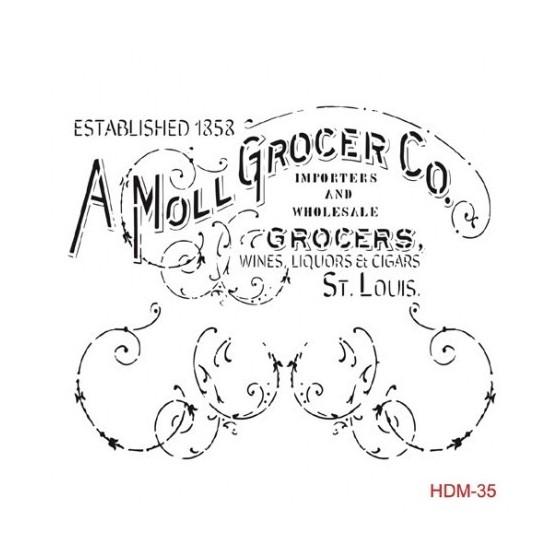 Stencil A MOLL GROCER 25x25cm
