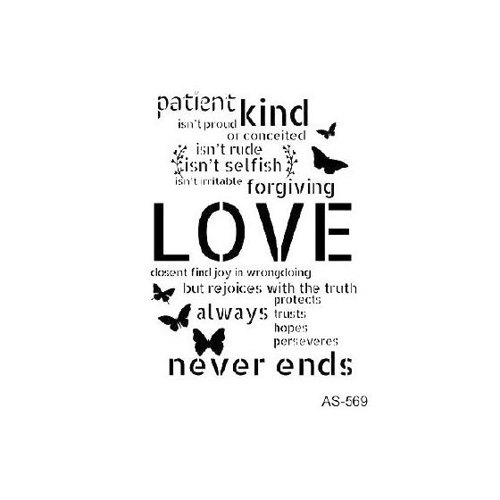 Stencil LOVE NEVER ENDS 21x30