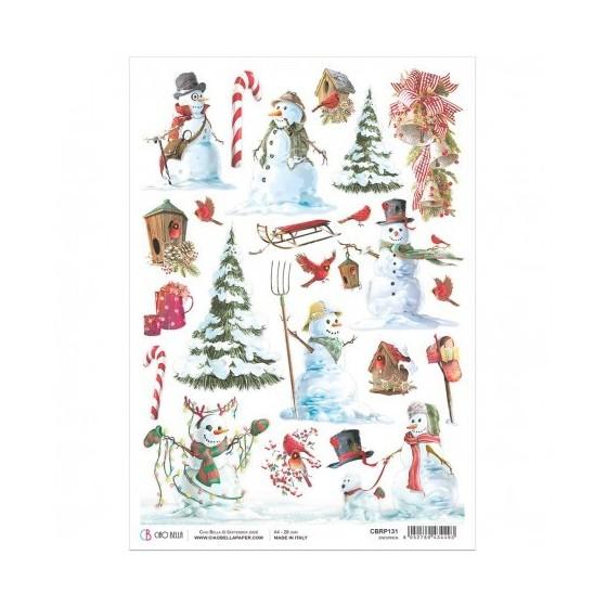 Rice Paper A4 Snowmen