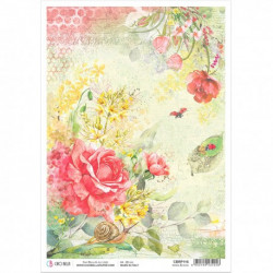 Rice Paper A4 Roses & Bugs