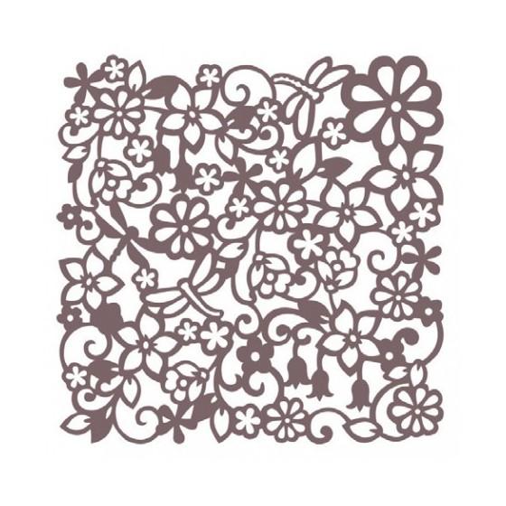 Stencil Shadow fondo flores