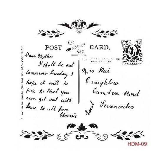 Stencil POST CARD 09 25x25cm