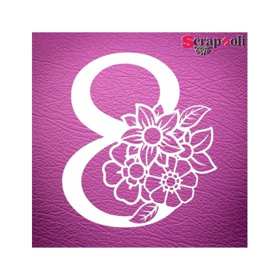 Chipboard Numero Floral C1-8