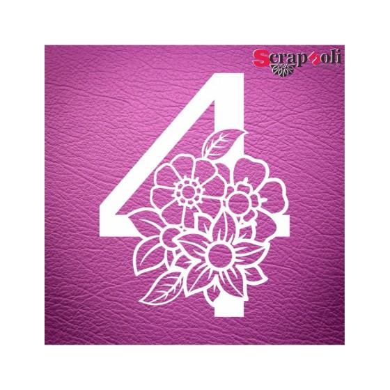 Chipboard Numero Floral C1-4