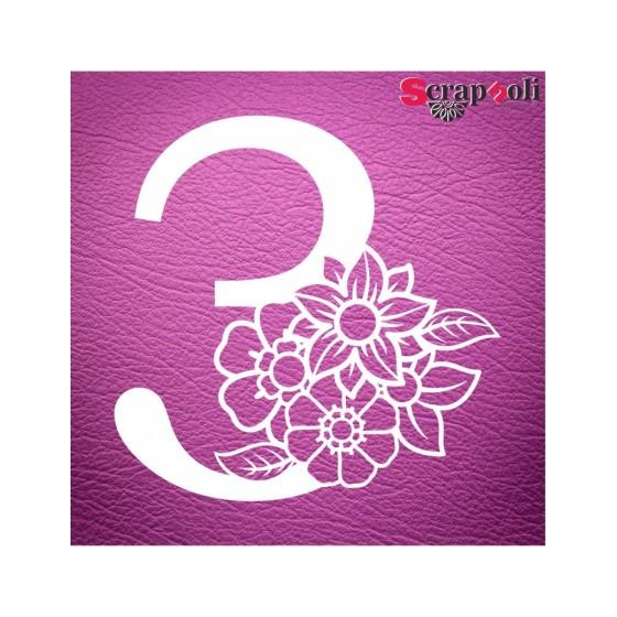 Chipboard Numero Floral C1-3