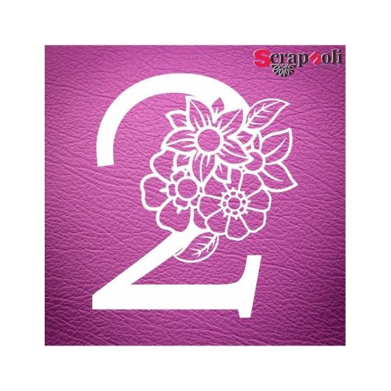 Chipboard Numero Floral C1-2