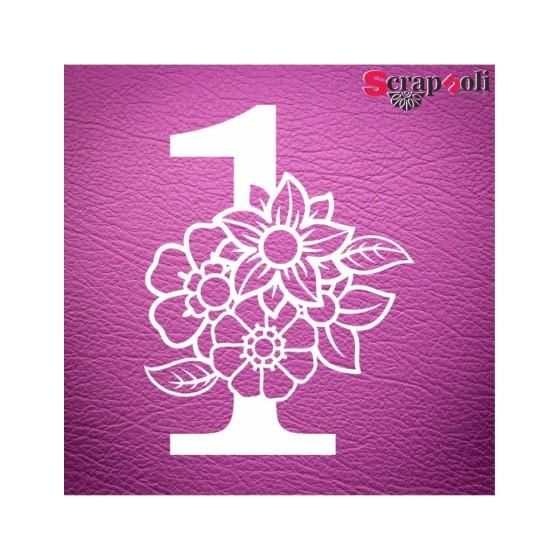 Chipboard Numero Floral C1-1
