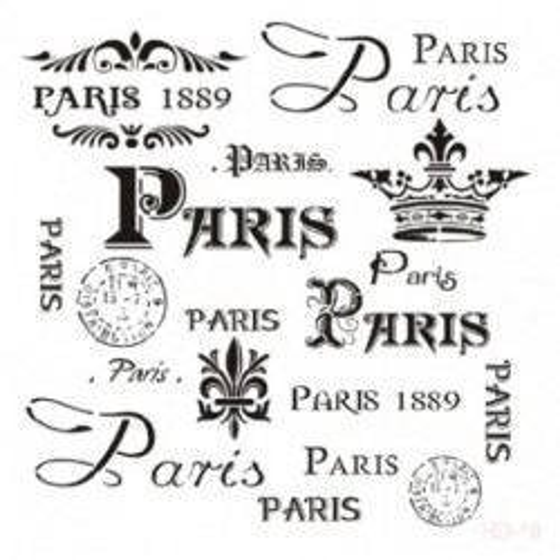 Stencil PARIS 10 25x25cm