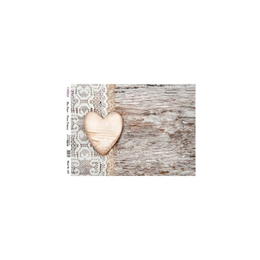 Papel de arroz corazón madera