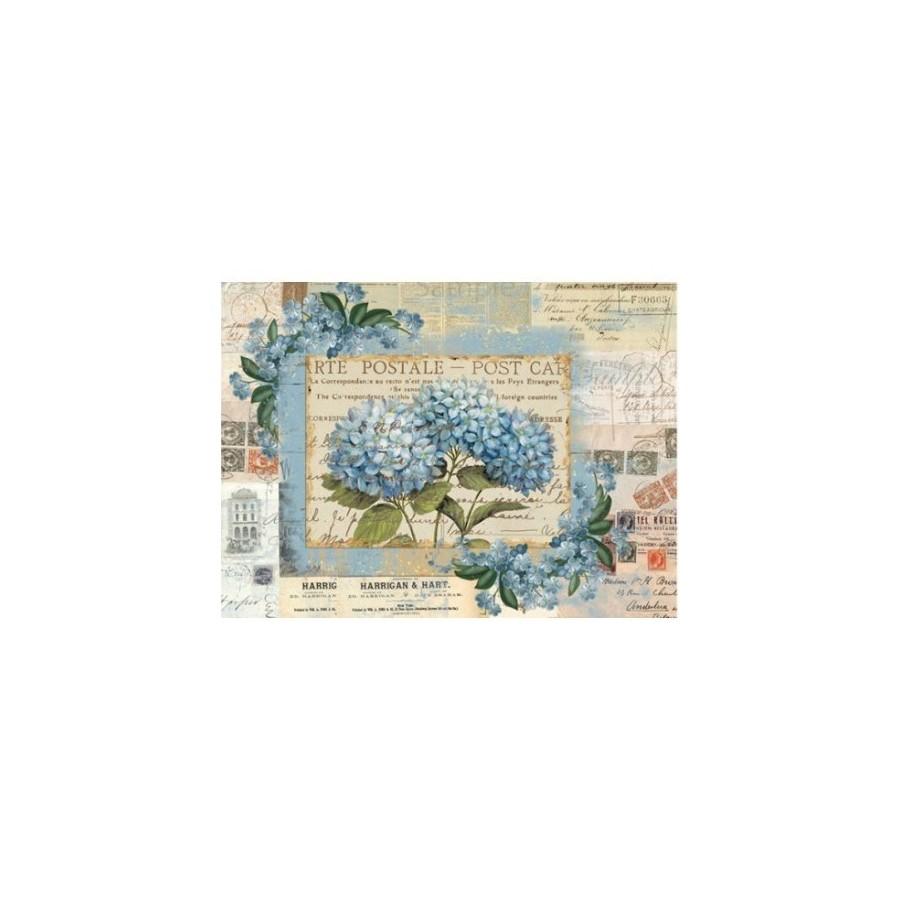 Papel de arroz hortensia azul