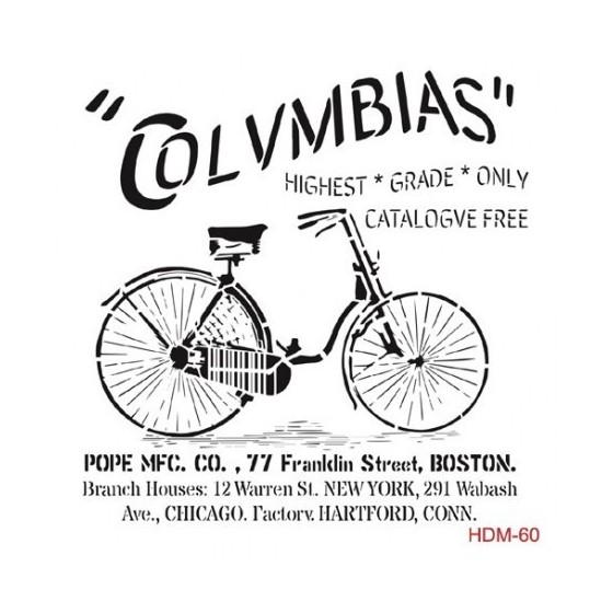 Stencil bici columbias 25x25cm