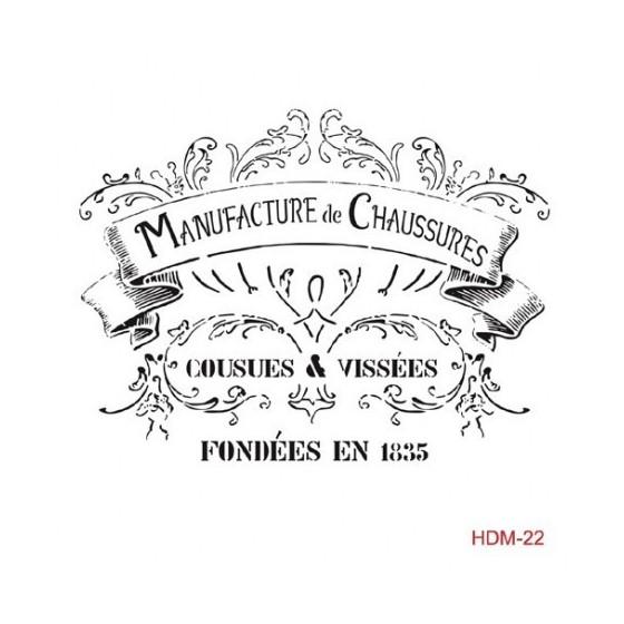 Stencil MANUFACTURE DE CHAUSSURES 25x25cm