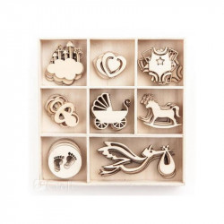 WOODEN SHAPES BABY, 40PCS