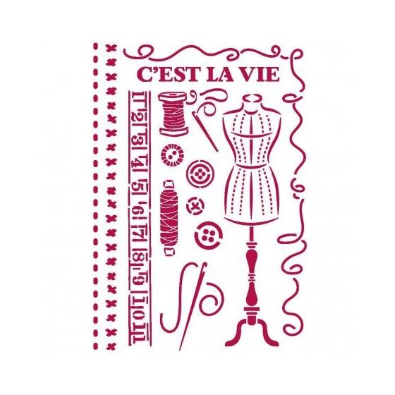 Stencil A4 Romantic Threads...